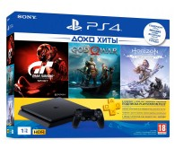 Игровая приставка Sony PlayStation 4 slim 1 ТБ в комплекте с 3 хитами: God of War, GT Sport, Horizon: Zero Dawn