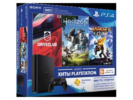 Игровая приставка Sony PlayStation 4 slim 500 ГБ в комплекте с тремя играми: Driveclub, Horizon Zero Dawn и Ratchet & Clank Черный со скидкой