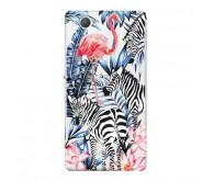 Чехол Art Case и защитная пленка для Sony Xperia Z3 Compact, Jungle Зебры