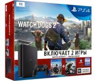 Игровая приставка Sony PlayStation 4 slim 1 ТБ в комплекте с двумя играми: Watch Dogs Bundle Edition и Watch Dogs 2