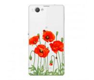 Чехол Art Case и защитная пленка для Sony Xperia Z3+, Flowers Мак