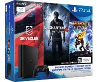 Игровая консоль PlayStation 4 (1 ТБ) в комплекте с тремя играми: Driveclub, Uncharted 4: Путь Вора, Ratchet & Clank